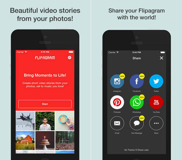 Flipagram برای iOS