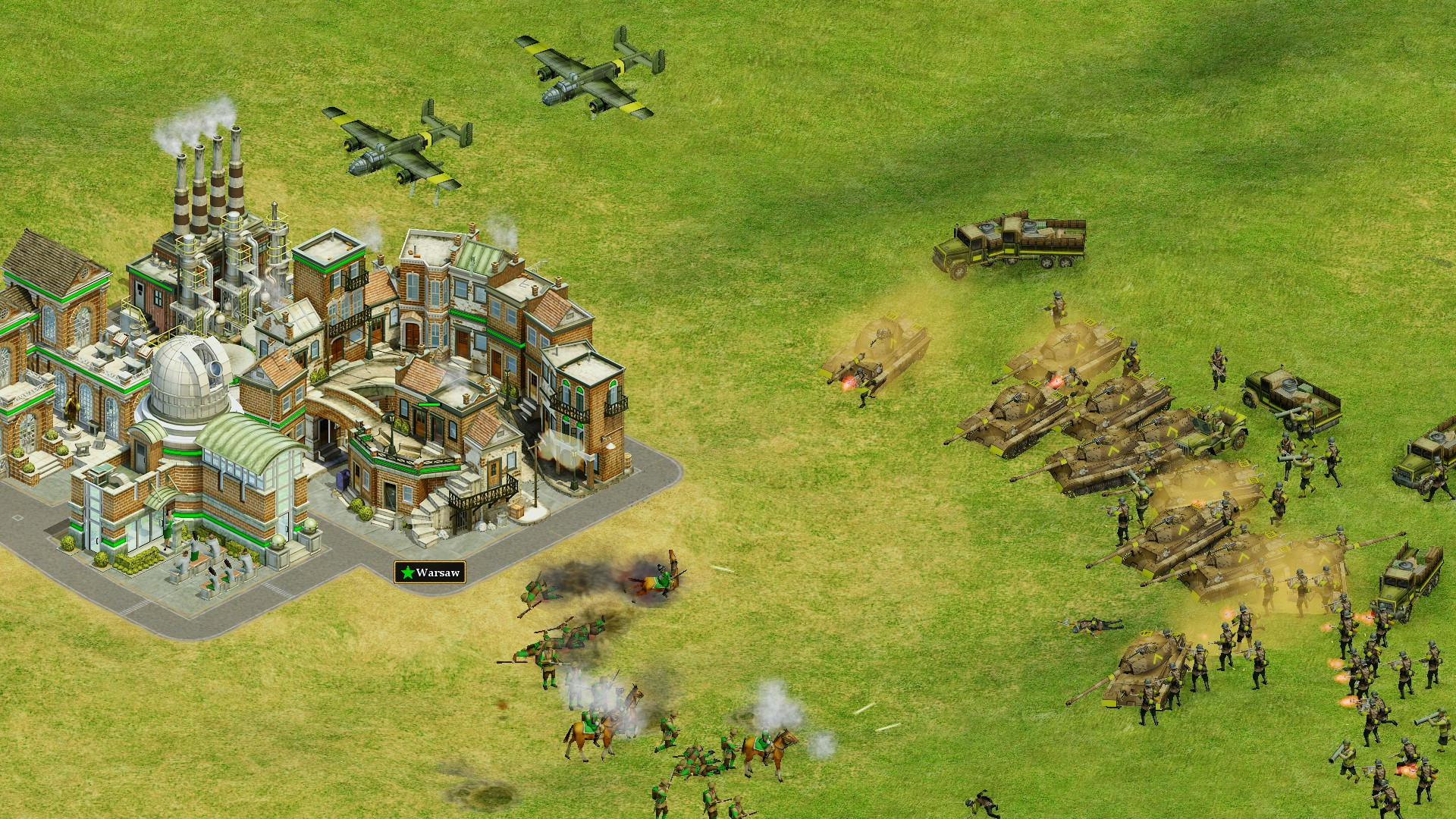 نیروهای زمینی در حال حمله به شهر ورشو.