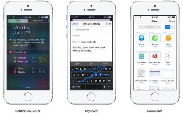 مرکز اعلان ها میزبان ویجت هایی شده که سایر سیستم عامل ها در هوم اسکرین خود قرار می دهند. کیبورد های جدیدی که توسط توسعه دهندگان ساخته خواهند شد، قابلیت جایگزین شدن کامل به جای کیبورد اصلی را دارند (توسعه دهندگان ایرانی مشغول ساخت کیبورد فارسی برای iOS 8 شده اند!) و اسناد را می توان با اپلیکیشن های بیشتر و بیشتر باز کردن و نیازی هم به ذخیره کپی های متعدد نیست.