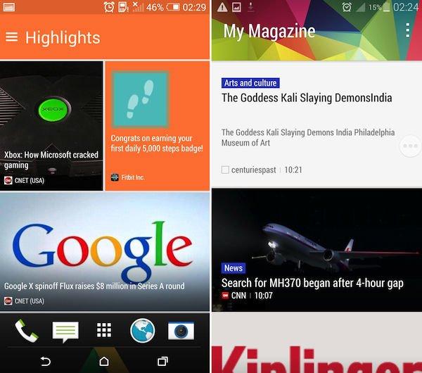 My Magazine در راست و BlinkFeed در چپ