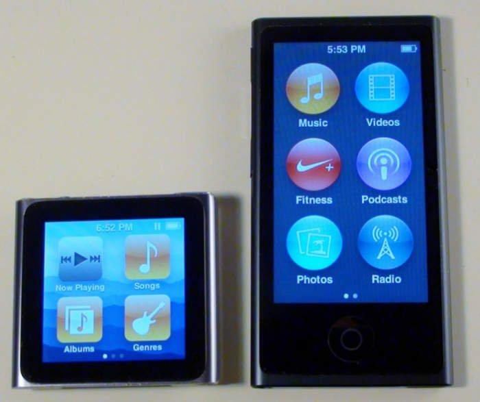 از راست به چپ: آیپاد نانو نسل ۷ و نسل ۶.