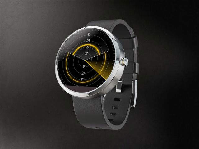 جیسون وانگ با ترکیب یک ساعت آنالوگ و یک ساعت دیجیتال این رادار وهم انگیز را روی موتو ۳۶۰ ترسیم کرده که کمان بالایی ساعت را نشان می دهد و کمان پایینی دقایق را. یک افکت راداری هم ساعت را اسکن می کند.