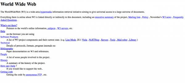 در سال ۹۴، تیم برنرز WWW را اختراع کرد. تصویر بالا اولین وبسایت منتشر شده بر روی اینترنت است.
