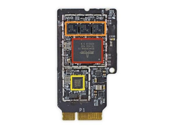 رنگ قرمز: ترنسیور وای فای 5G مدل BCM4360KML1Gمحصول Broadcomبا پشتیبانی از استاندارد802.11ac رنگ نارنجی: ماژولWLAN با پشتیبانی از باند دوگانه و استانداردهای802.11a/b/g/n/ac محصولSkyworks رنگ زرد: چیپ بلوتوث ۴HCI Solution با پشتیبانی از مصرف بهینه انرژی موسوم بهBLE با شماره مدلBCM20702ومحصولBroadcom.