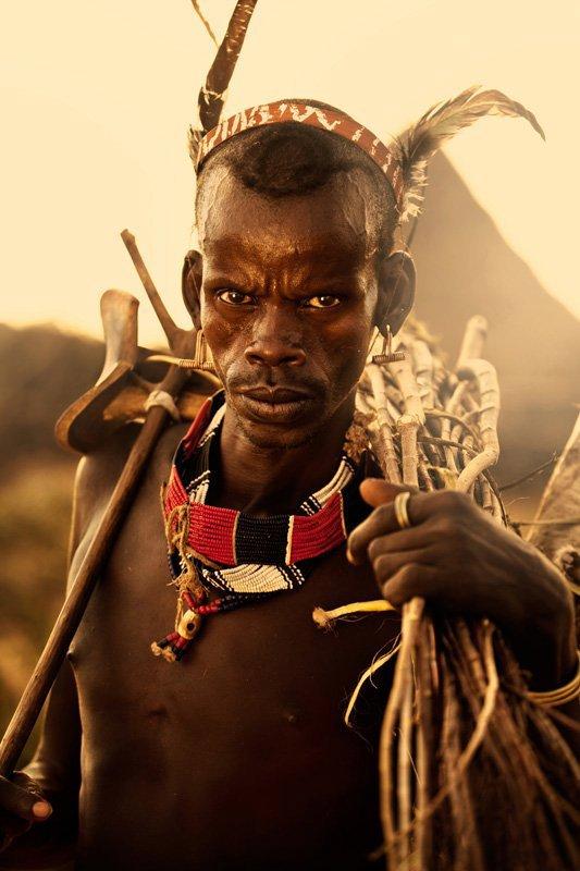 در دره پایین اُمو در اتیوپی جنوبی مردی از قبیله هامار برای ساختن پرچین محافظ برای دام هایش، چوب جمع آوری می کند.