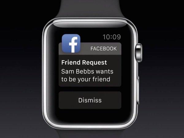 اپلیکیشن های جانبی نیز می توانند بسته به انتخاب کاربر روی ساعت نوتیفیکیشن بفرستند.