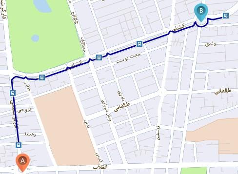 نمایش مسیر اتوبوس روی نقشه
