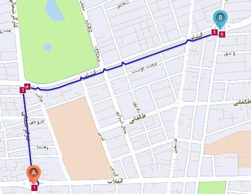 نمایش مسیر خودرو روی نقشه