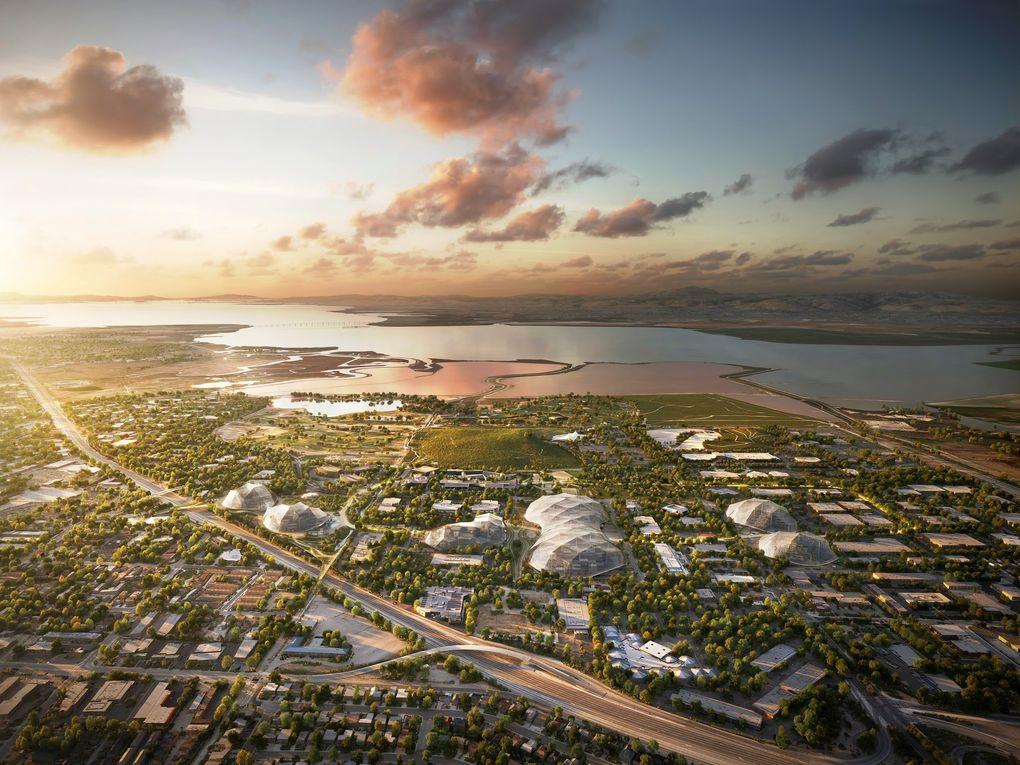 تصویری از دورنمای مقر سازمانی جدید گوگل و محوطه ی اطرافش.