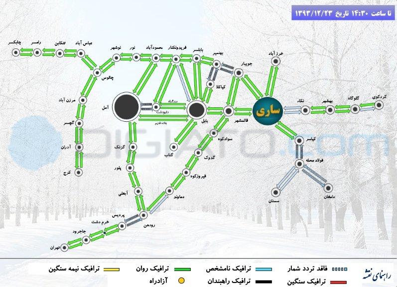 ترافیک راه های استان مازندران