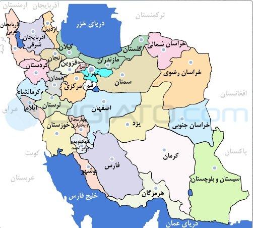 تصویر نقشه جهت انتخاب استان مورد نظر