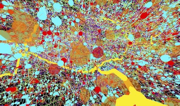 انتقالمیکروگراف الکترون هاییکه برای ایجاد این تصویر رنگی از سیستم عصبی مورد استفاده قرار گرفته اند.