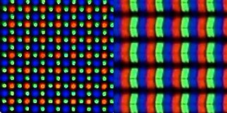 نمایشگر آیفون با چینش RGB در سمت راست در مقابل نمایشگر اس 6 با چینش الماسی (Diamond Pentile)
