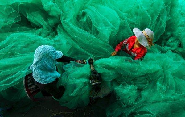 زنان یک دهکده کوچک نزدیک ویتنام در حال دوختن یک تور ماهیگیری. این عکس برنده جایزه بزرگ مسابقه اسمیتسونین شده.