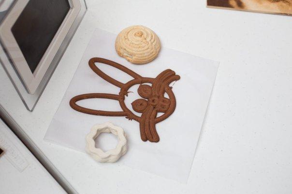 در این تصویر صورت یک خرگوش را می بینید که با استفاده از قیف کیک و شکلات ساخته شده است.