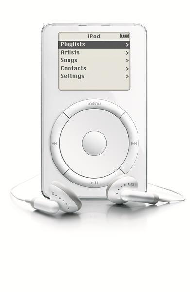 اولین آیپاد در سال ۲۰۰۱ معرفی شد. این دستگاه قادر بود تا هزار آهنگ را در داخل خود ذخیره نماید.