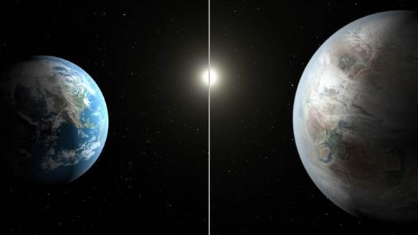 تصویری که زمین و سیاره ی تازه کشف شده توسط ناسا را مورد قیاس قرار می دهد.