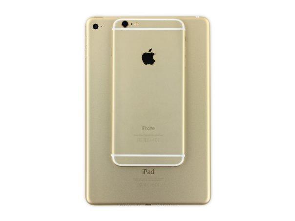 رنگ طلایی آیپد مینی ۴ با رنگ طلایی آیفون ۶ فرق ظاهری خاصی ندارد و هر دو یکسان هستند.