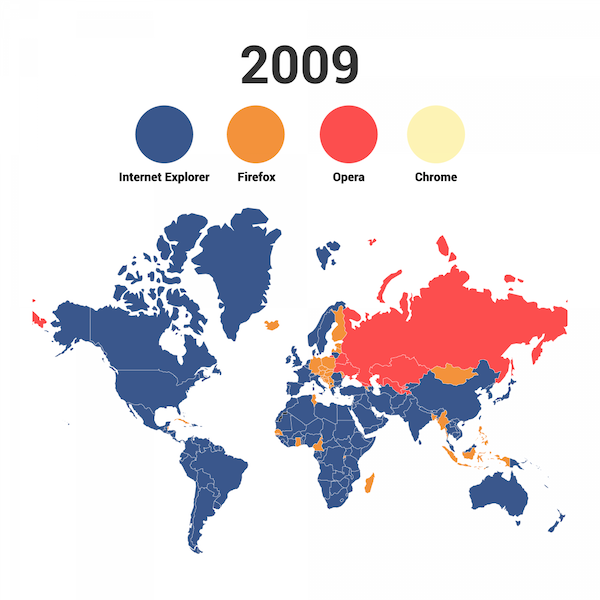 در سال ۲۰۰۹ طوفان اپرا ناگهان شرق اروپا و روسیه را در نوردید و سهم بازار قابل توجهی را برای این مرورگر به همراه آورد.