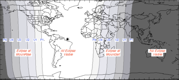 نواحی موجود در بخش بسیار روشن نقشه می توانند ماه را به رنگ قرمز ببینند و قسمت های تیره رنگ شامل استرالیا و بخش های شرقی آسیا اما از دیدن این منظره محروم خواهند ماند.