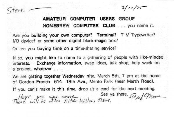 زمانی که دو کامپیوتر دوست جوان به نام های استیو وزنیاک و استیو جابز در نخستین گردهمایی گروه هواداران محلی سیلیکون ولی به نام کلوپ کامپیوتری Homebrew حاضر شدند، زمینه ساز تحولی گردیدند که آینده فناوری را دگرگون کرد.