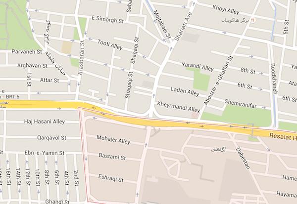 محله سید خندان تهران در نقشه گوگل