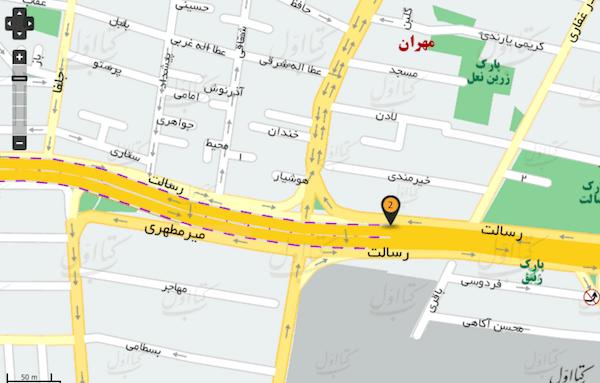 محله سید خندان تهران در نقشه کتاب اول