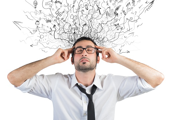 Concept of stress and confusion of a businessman