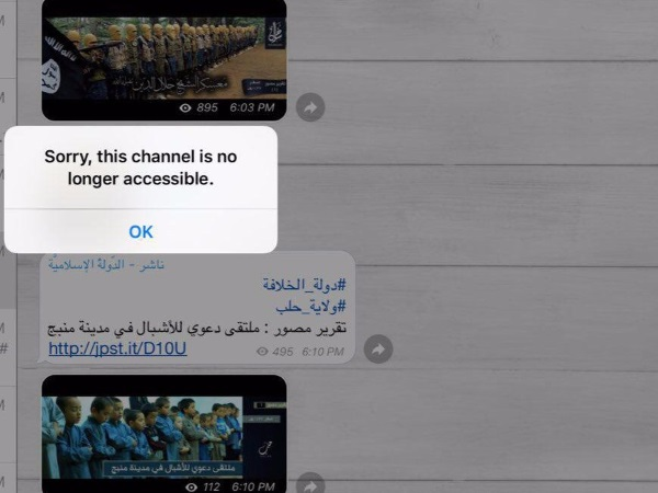 isis telegram suspended