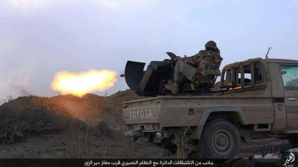 تصویری از یک داعشی در حین شلیک تسلیحات