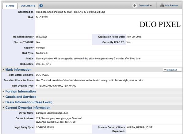 Samsung-Trademark-Application-USPTO-Duo-Pixel