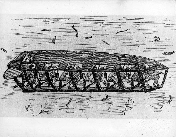 (GERMANY OUT) Untersee-Ruderboot, erbaut von demHolländer Cornelius van Drebbel (um 1520)Nach der Chronik von Alkmaar des C. vander Wreede (1645) baute van Drebbel einSchiff, das, von 12 Ruderern angetrieben,unter Wasser eine Fahrt von mehrerenStunden in einer Tiefe von 12-15 Fußgemacht haben soll. Angeblich soll KönigJames I. in diesem Boot gefahren seinZeichnung (Photo by ullstein bild/ullstein bild via Getty Images)