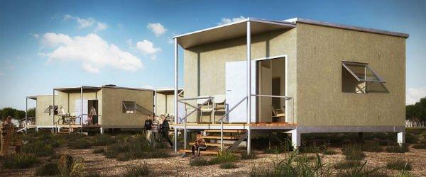 خانه های مهندسی ساخت Hex: در بسیاری از مواقع، افرادی که خانه ی خود را در اثر زمین لرزه یا سیل از دست داده اند نمی توانند به سرعت سرپناهی برای خود مهیا نماید از این رو خانه هایی که در اختیار آنها قرار می گیرد باید برای مدت طولانی قابلیت استفاده را داشته باشند. پیرو همین امر کمپانی Architects For Society خانه هایی طراحی نموده اند که این معضل را برطرف می نماید. این خانه ها در فرم ها و پلن های مختلف طراحی گشته اند و شامل نمونه های دو، سه و 5 اتاق خوابه هستند. البته همه مدل ها به صورت 6 ضلعی طراحی شده اند. به دلیل زیربنای چند ضلعی که این ساختمان ها دارند، می توان چند دستگاه از آنها را در کنار هم نصب نموده و به صورت مشترک و به واسطه پنل های خورشیدی برق و از باران، آب آشامیدنی تولید نمود.