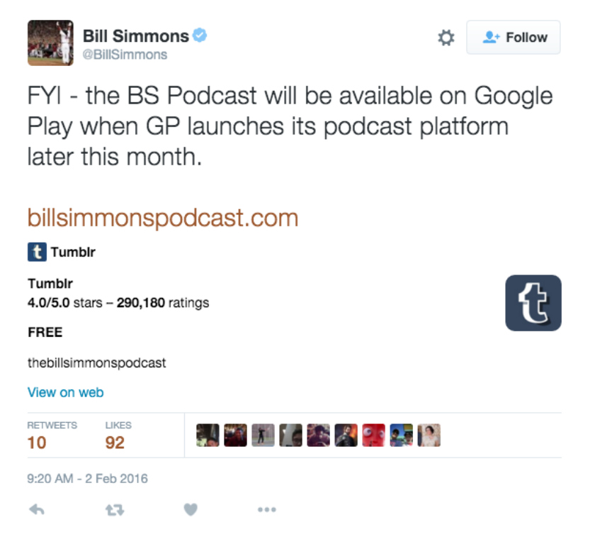 Bill-Simmons-Google-Play-Music-podcasts-tweet