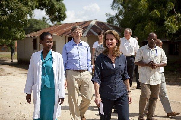 Bill and Melinda Gates speak with, Neema Malachi Najwale, nurse in charge at the Mapinga Dispensary in Tanzania on June 24, 2011.