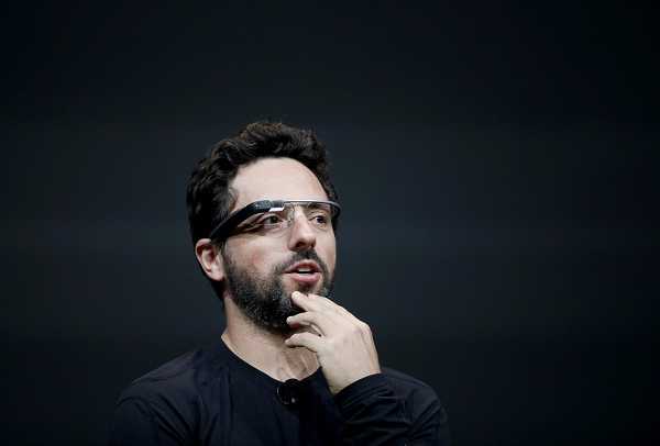 Sergey Brin, co-founder of Google appear at the keynote with the Google Glass to introduce the Google Class Explorer edition during Google's annual developer conference, Google I/O, on June 27, 2012 in San Francisco. AFP PHOTO/Kimihiro Hoshino (Photo credit should read KIMIHIRO HOSHINO/AFP/GettyImages)