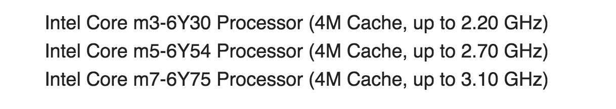 در این میان یک توسعه دهنده اطلاعات دیگری را هم از هسته اصلی OS X به دست آورده بود که نشان دهنده نوع پردازنده بکار رفته در مک بوک های ۱۳ و ۱۵ اینچی بودند.