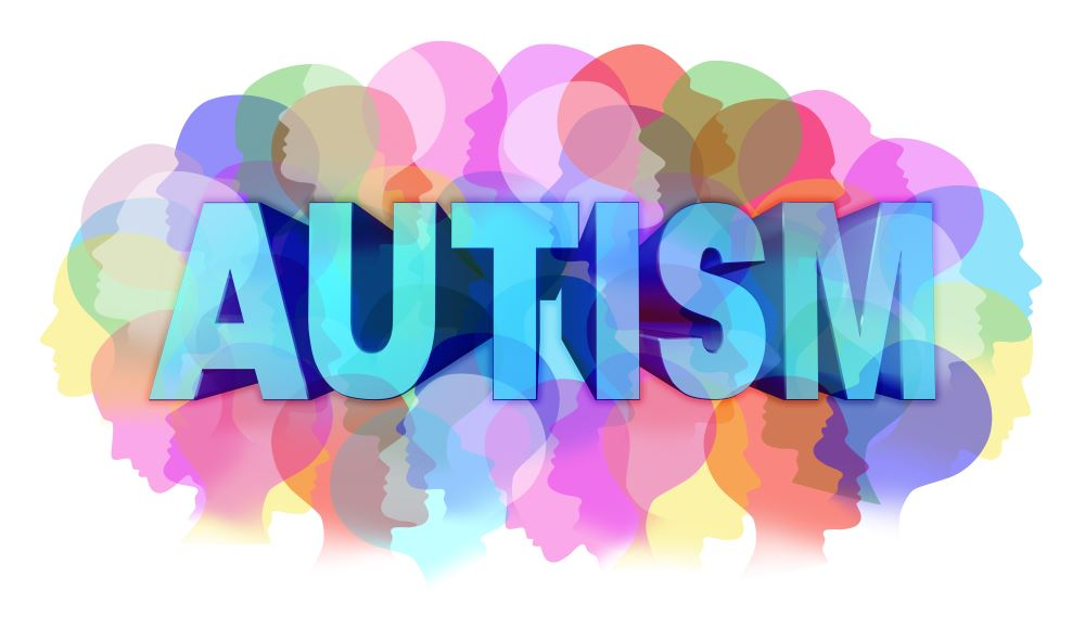 Autism diagnosis and autistic disorder concept or ASD concept as a group of human faces showing the color specrtrum as a mental health issue symbol for medical research and community education support and resources.