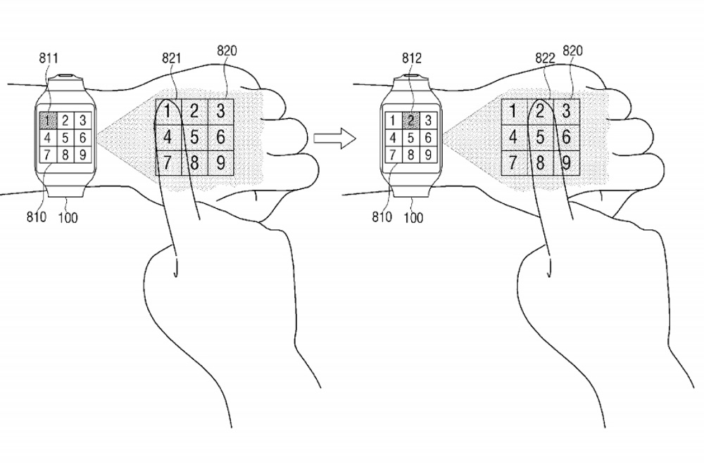 Samsung-virtual-UI-for-wearables-patent
