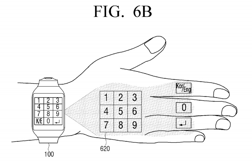 Samsung-virtual-UI-for-wearables-patent8