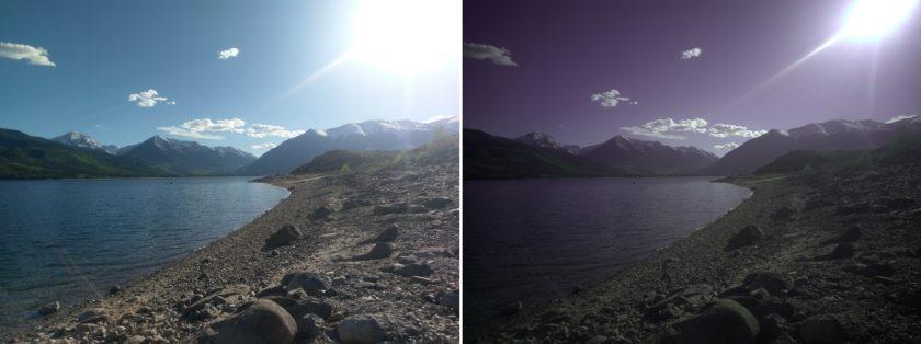 سمت چپ: یک عکس پردازش شده JPEG. راست: نمونه ای از آنچه ممکن است قبل از پردازش یک تصویر Raw با باز کردن فایل آن مشاهده نمایید.