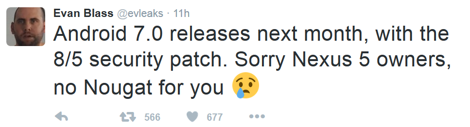 Tweet-from-Evan-Blass-says-to-expect-Android-7.0-to-be-unveiled-next-month