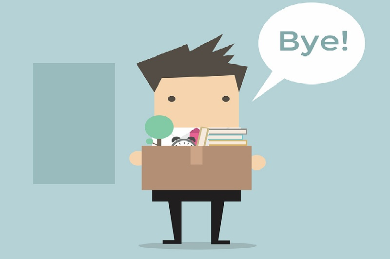 Businessman Leaving Job and say goodbye vector illustration