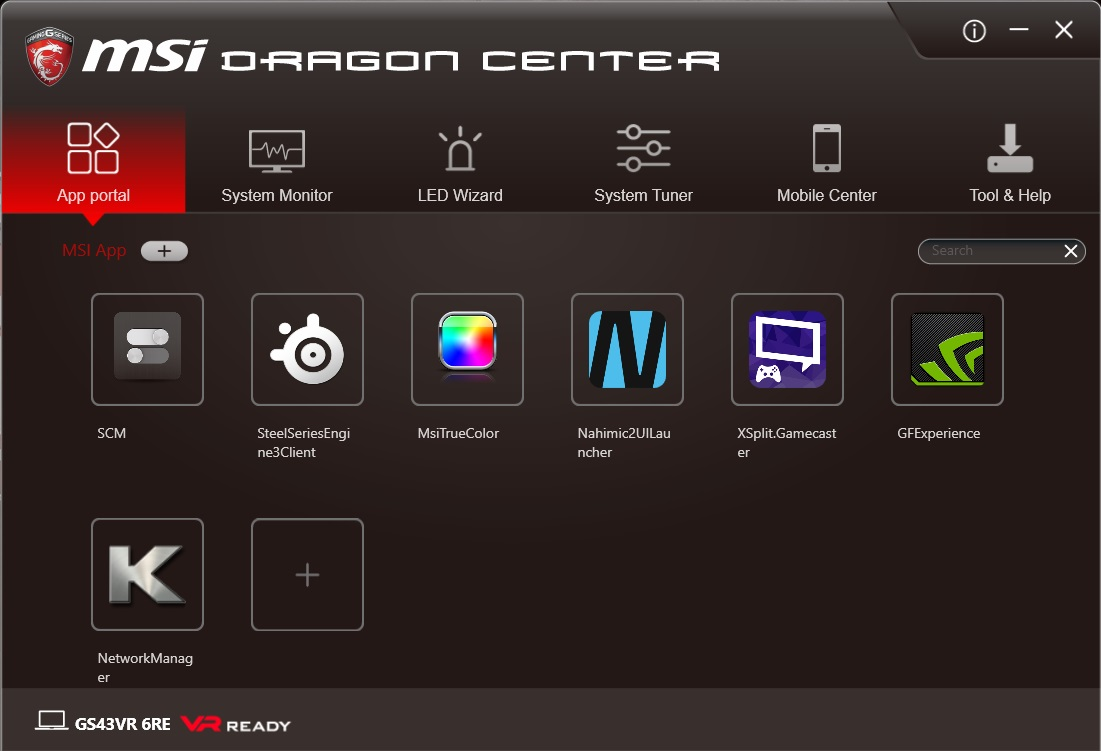 MSI Dragon Center App Portal