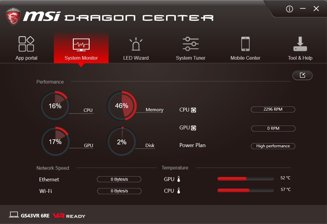 MSI Dragon Center System Monitor