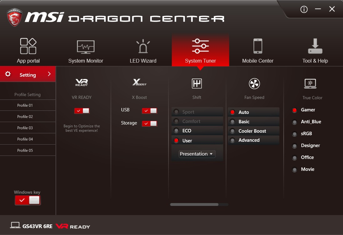 MSI Dragon Center System Tuner