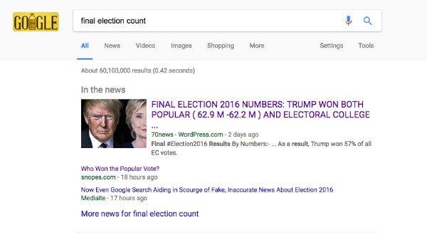 اخبار دروغین در نتایج جستجوی گوگل