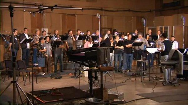 ضبط موسیقی متن اسکاریم با گروه کر در استودیوی سونی، لس آنجلس