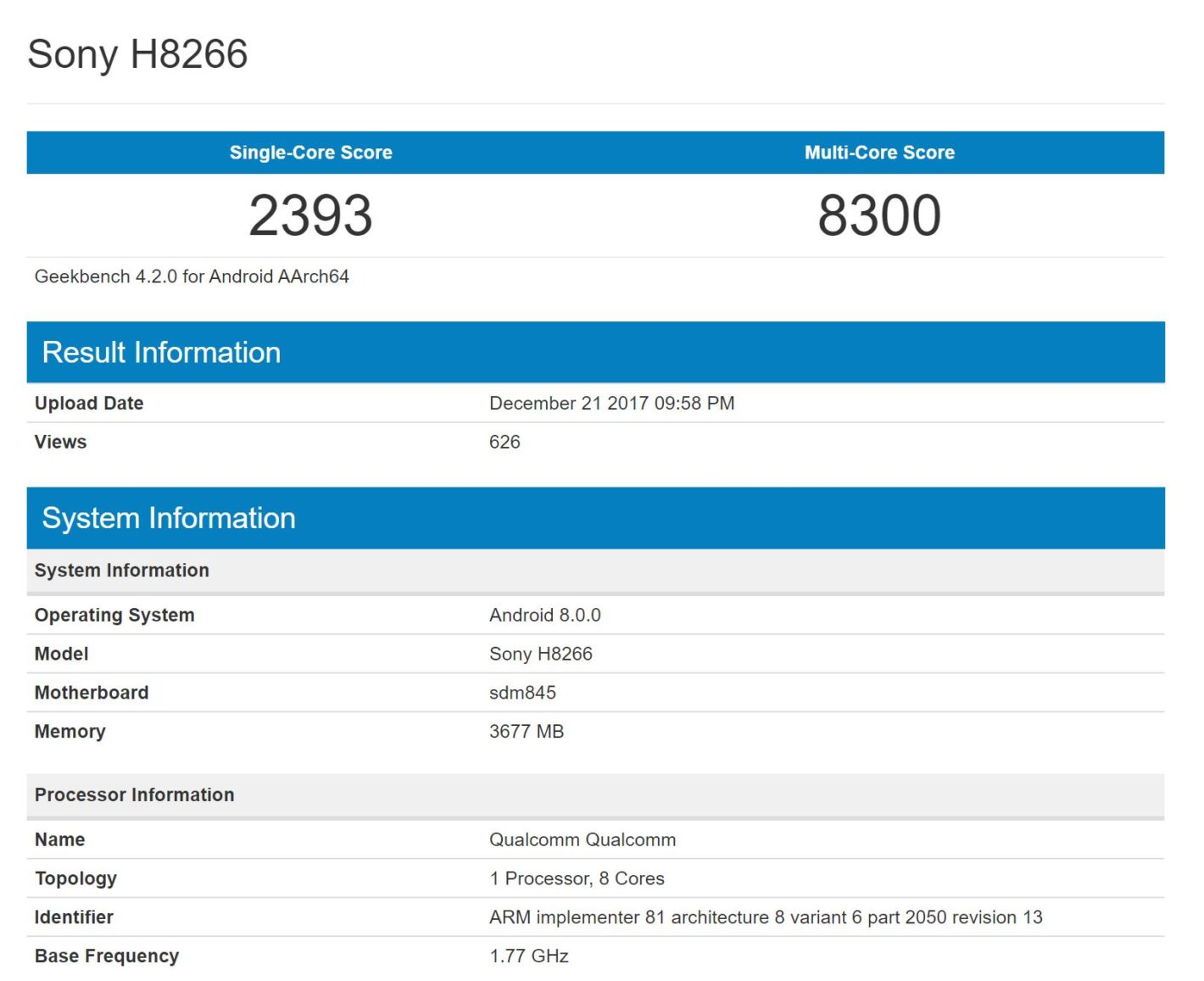 گیک بنچ موبایل H8266 سونی