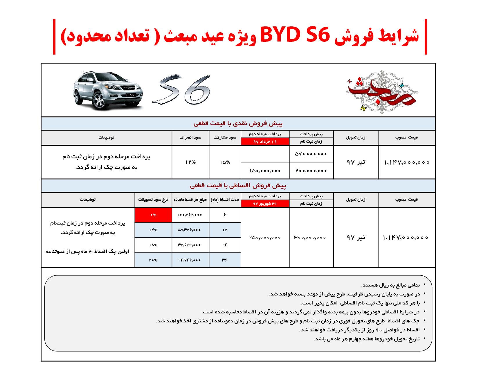 قیمت و شرایط فروش BYDS6
